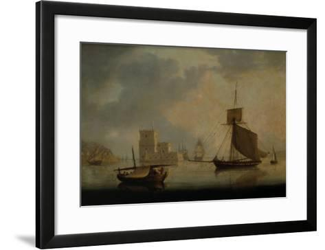 Naval Cutter by Belem Tower at the Mouth of the Tagus-William Anderson-Framed Art Print