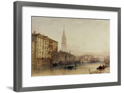 On the Grand Canal, Venice - An Evening View-William Callow-Framed Art Print