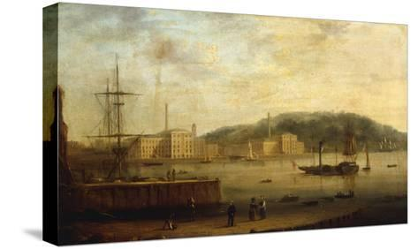 Plymouth Harbour with the Royal William Victualling Yard-William Daniell-Stretched Canvas Print