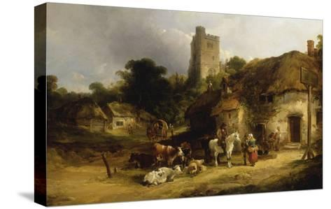 Villagers with their Animals outside the Plough Inn-William Shayer-Stretched Canvas Print