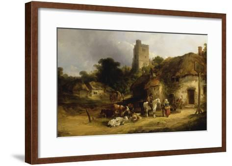 Villagers with their Animals outside the Plough Inn-William Shayer-Framed Art Print