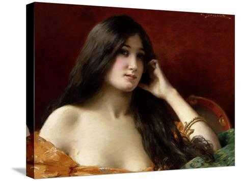 Portrait of a Young Woman-Jules Frederic Ballavoine-Stretched Canvas Print