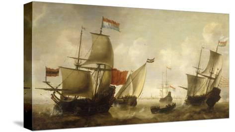 A Dutch Merchantman with a Wijdschip and other Shipping off Amsterdam-Jacob Adriansz Bellevois-Stretched Canvas Print