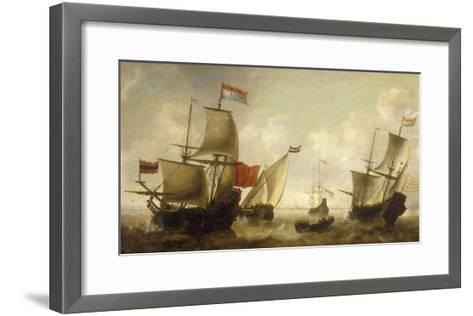 A Dutch Merchantman with a Wijdschip and other Shipping off Amsterdam-Jacob Adriansz Bellevois-Framed Art Print