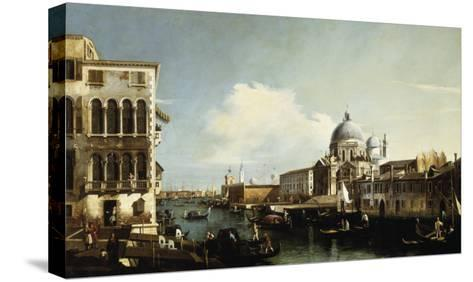Venice, the Grand Canal: the Salute and Dogana from the Campo Sta Maria Zobenigo-Canaletto-Stretched Canvas Print