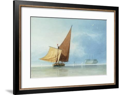 Shipping at the Entrance of the Meadway, Kent-Miles Edmund Cotman-Framed Art Print