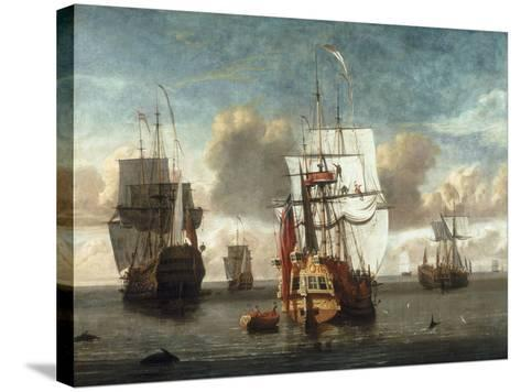 A Calm with British Shipping at Anchor-L. deMan-Stretched Canvas Print