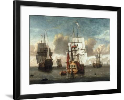 A Calm with British Shipping at Anchor-L. deMan-Framed Art Print