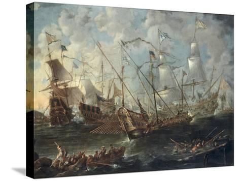 A Mediterranean Naval Battle-Kaspar van Eyck-Stretched Canvas Print