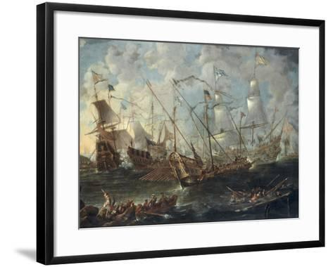 A Mediterranean Naval Battle-Kaspar van Eyck-Framed Art Print