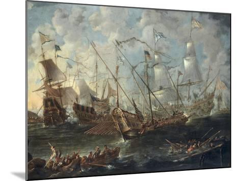 A Mediterranean Naval Battle-Kaspar van Eyck-Mounted Giclee Print