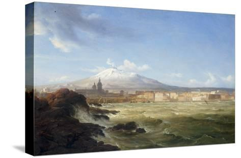 A View of Mount Etna from the Sea, 1833-Thomas Fearnley-Stretched Canvas Print