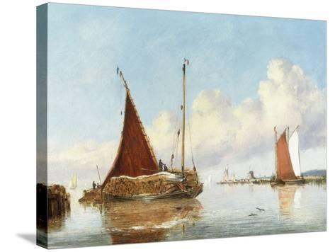 Barge Carrying Reeds on the Norfolk Broads-William Philip Barnes Freeman-Stretched Canvas Print