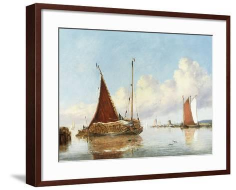 Barge Carrying Reeds on the Norfolk Broads-William Philip Barnes Freeman-Framed Art Print