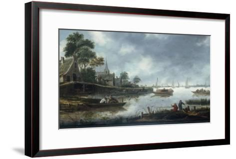 A River Estuary with Fishermen and Other Figures in Boats, the Town of Haarlem Beyond, 1675-Thomas Heeremans-Framed Art Print