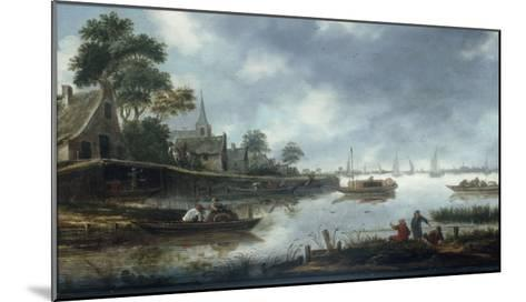 A River Estuary with Fishermen and Other Figures in Boats, the Town of Haarlem Beyond, 1675-Thomas Heeremans-Mounted Giclee Print