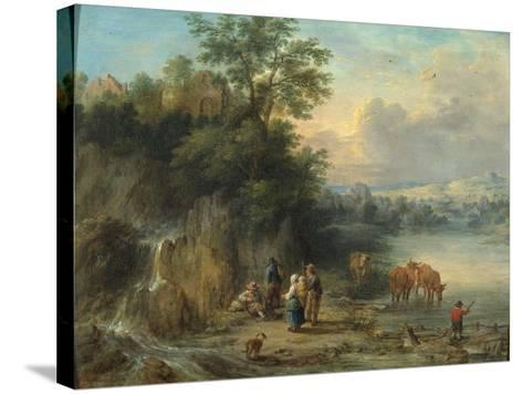 A Landscape with Peasants and Cattle by a River-Theobald Michau-Stretched Canvas Print