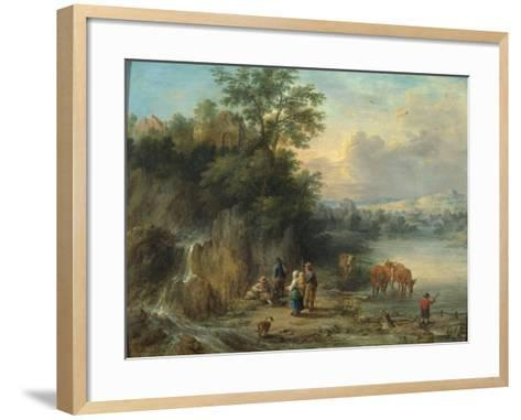 A Landscape with Peasants and Cattle by a River-Theobald Michau-Framed Art Print