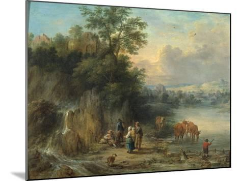 A Landscape with Peasants and Cattle by a River-Theobald Michau-Mounted Giclee Print