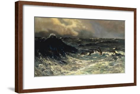 Dolphins in a Rough Sea, 1894-Thorvald Niss-Framed Art Print