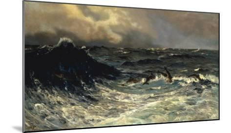 Dolphins in a Rough Sea, 1894-Thorvald Niss-Mounted Giclee Print