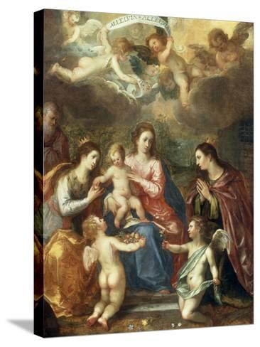 The Holy Family with St Catherine of Alexandria, two Angels and another Female Saint-Hendrik van Balen the Elder-Stretched Canvas Print