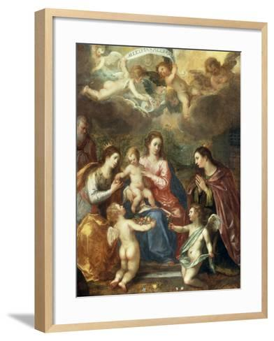 The Holy Family with St Catherine of Alexandria, two Angels and another Female Saint-Hendrik van Balen the Elder-Framed Art Print