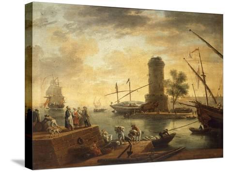 A Mediterranean Harbour Scene at Sunset-Claude Joseph Vernet-Stretched Canvas Print