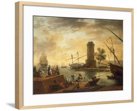 A Mediterranean Harbour Scene at Sunset-Claude Joseph Vernet-Framed Art Print