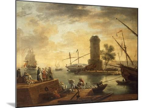 A Mediterranean Harbour Scene at Sunset-Claude Joseph Vernet-Mounted Giclee Print
