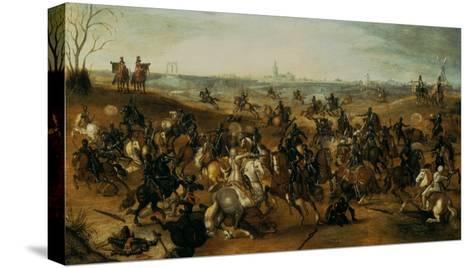 The Battle of Lekkerbeetje or the Battle of Vught Heath with a View of 'S-Hertogenbosch'-Sebastiaen Vrancx-Stretched Canvas Print