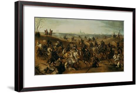 The Battle of Lekkerbeetje or the Battle of Vught Heath with a View of 'S-Hertogenbosch'-Sebastiaen Vrancx-Framed Art Print
