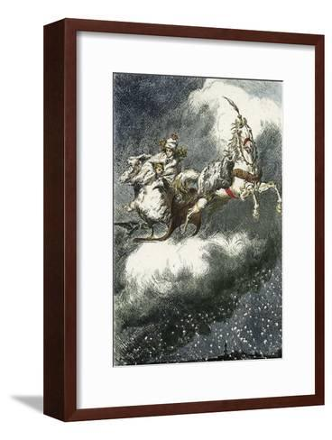 The Snow Queen: 'Are you cold? Come underneath my fur coat!', Woodcut illustration, 1881-Erdman Wagner-Framed Art Print