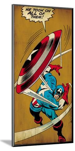 Marvel Comics Retro: Captain America Comic Panel, Throwing Shield (aged)--Mounted Art Print