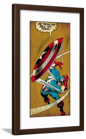 Marvel Comics Retro: Captain America Comic Panel, Throwing Shield (aged)--Framed Art Print