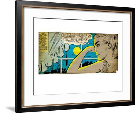 Marvel Comics Retro: Love Comic Panel, Alone at Window under Moonlight (aged)--Framed Art Print