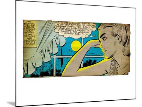 Marvel Comics Retro: Love Comic Panel, Alone at Window under Moonlight (aged)--Mounted Art Print