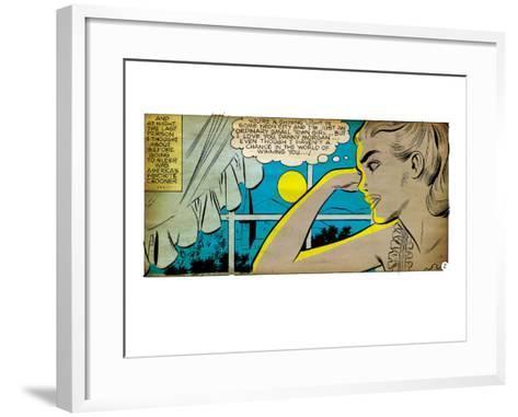 Marvel Comics Retro: Love Comic Panel, Alone at Window under Moonlight (aged)--Framed Art Print