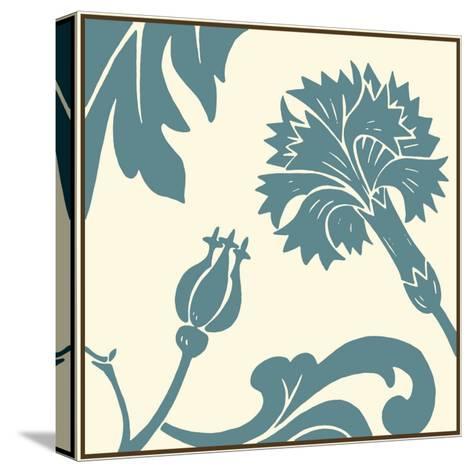 Teal Floral Motif II-Chariklia Zarris-Stretched Canvas Print