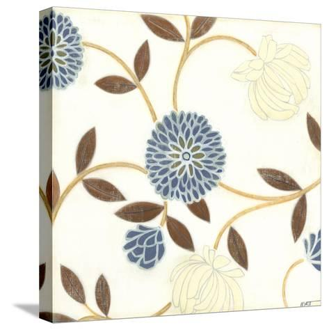 Blue and Cream Flowers on Silk I-Norman Wyatt Jr^-Stretched Canvas Print