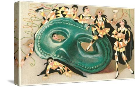 Harlequins Cavorting on Huge Mask--Stretched Canvas Print