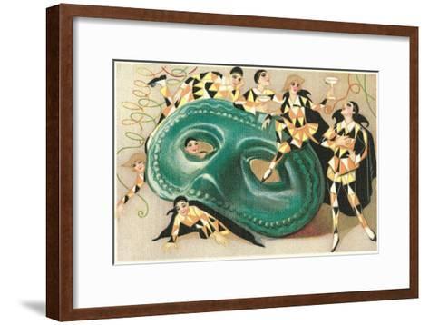 Harlequins Cavorting on Huge Mask--Framed Art Print