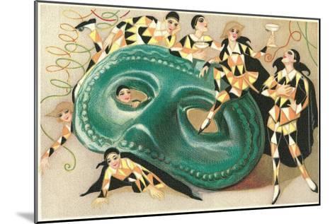 Harlequins Cavorting on Huge Mask--Mounted Art Print