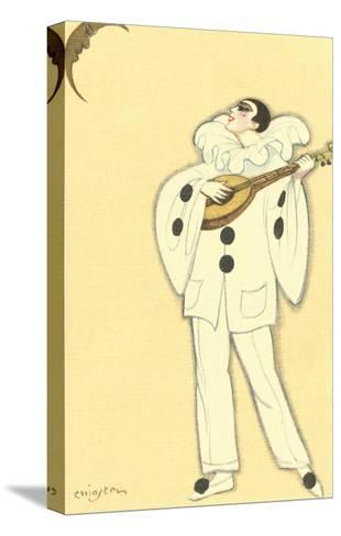 Pierrot Singing to Crescent Moon--Stretched Canvas Print
