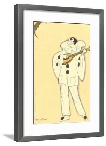 Pierrot Singing to Crescent Moon--Framed Art Print