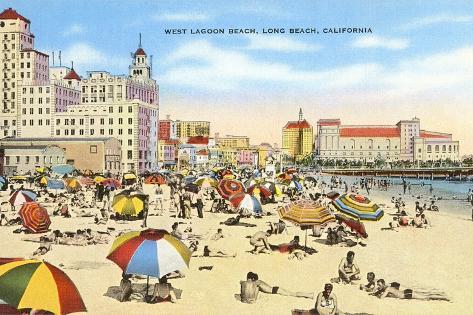 West Lagoon Beach, Long Beach, California--Stretched Canvas Print
