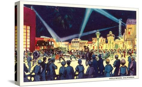 Searchlights on Movie Set, Hollywood, California--Stretched Canvas Print