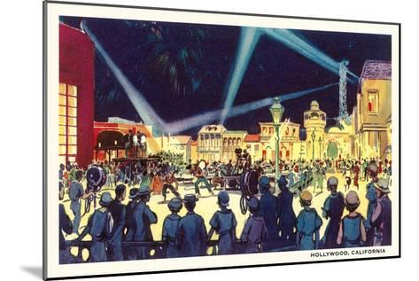 Searchlights on Movie Set, Hollywood, California--Mounted Art Print