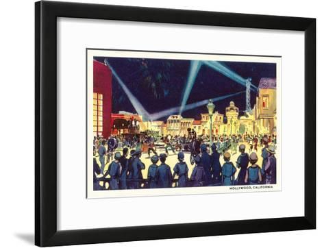 Searchlights on Movie Set, Hollywood, California--Framed Art Print