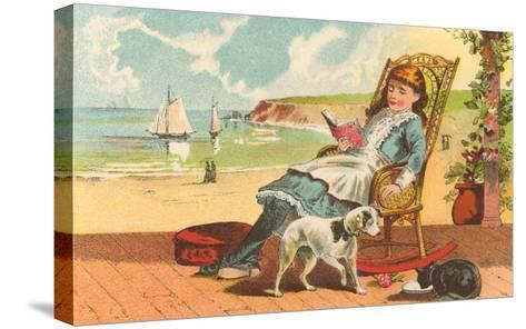 Victorian Girl Reading by Seashore--Stretched Canvas Print